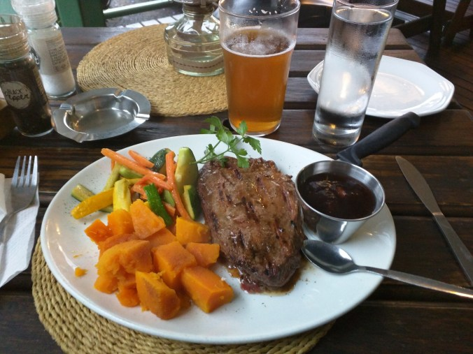 Wildebeest Steak and Sabie Beer