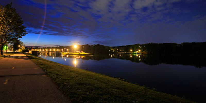 Ellis Harbor under Moonlit sky as Cedar River Rushes by
