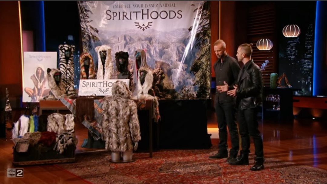 SpiritHoods fur hood with mitts speakers misses on Shark Tank Pitch