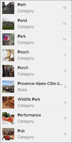 Photos categories
