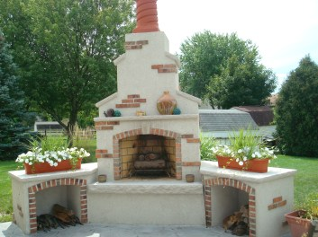 12-Bowling Green-Outdoor Fireplace-Brick-dryvit-southwestern design-gas log lighter