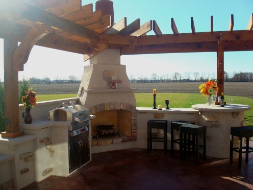 Bryan Ohio-outdoor fireplace-bbq-sit wall-bar center- Pergola,Patio