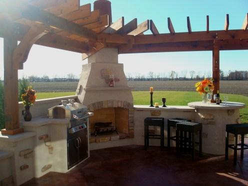 Bryan Ohio-outdoor fireplace-bbq-sit wall-bar center- Pergola,Patio