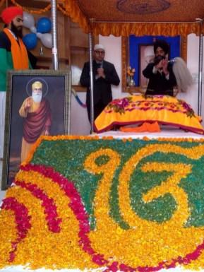 Guru Granth Sahib ornated with petals