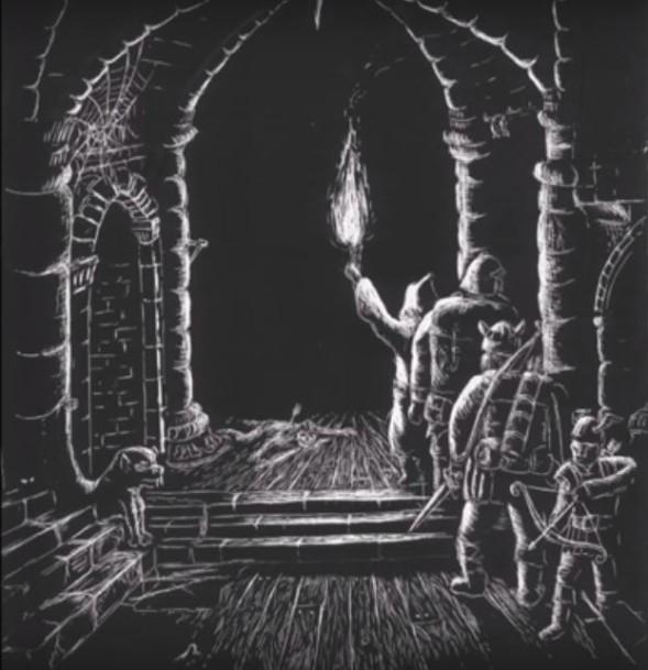 Iltasaduksi lukemani Hobitti. Kuvituksena raapekartongille raapustamani näkymä Moriasta, vuodelta 1985.