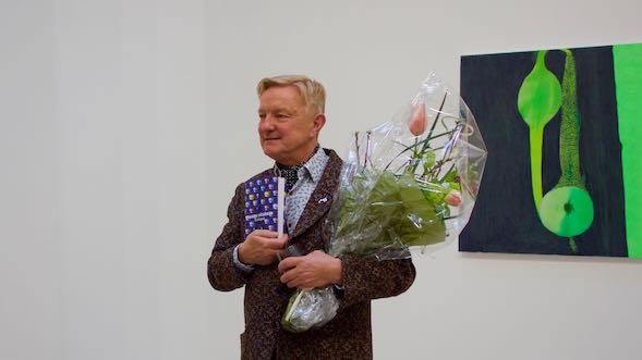Hannu Väisänen Elohopean julkistustilaisuudessa Galleria Forsblomilla xx.3.
