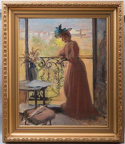 Bukowskilla vuonna 2013 tuntemattomalle ostajalle myyty Albert Edelfeltin Nainen parvekkeella (1884)