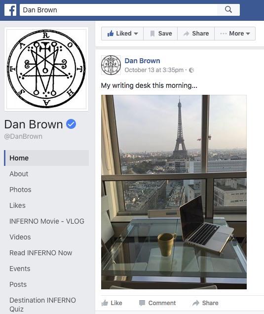 Dan Brown on aktiivinen somessa. Hänen sivuillaan on myös arvoitustehtäviä.