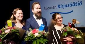 Voittajatrio 2016: Juuli Niemi, Jukka Viikilä ja Mari Manninen