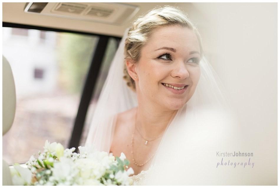 portrait of bride in car