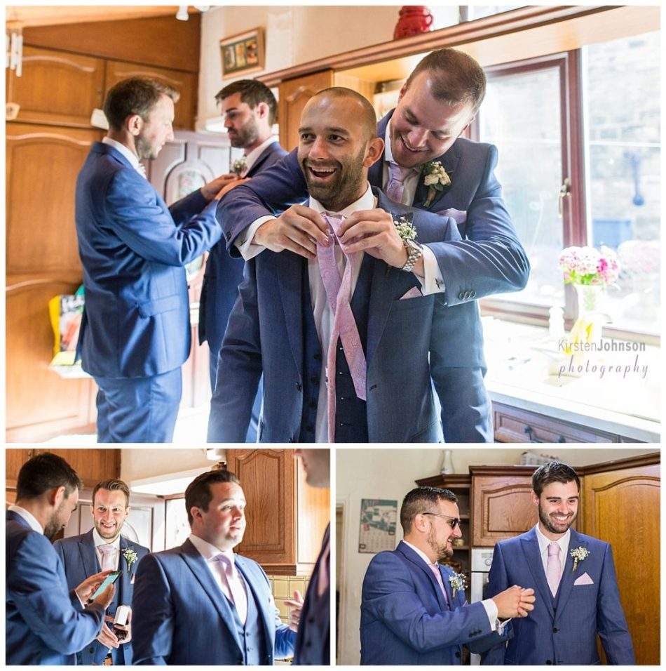 multi photo image of groomsmen getting ready