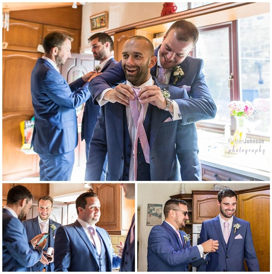 multi photo image of groomsmen getting ready