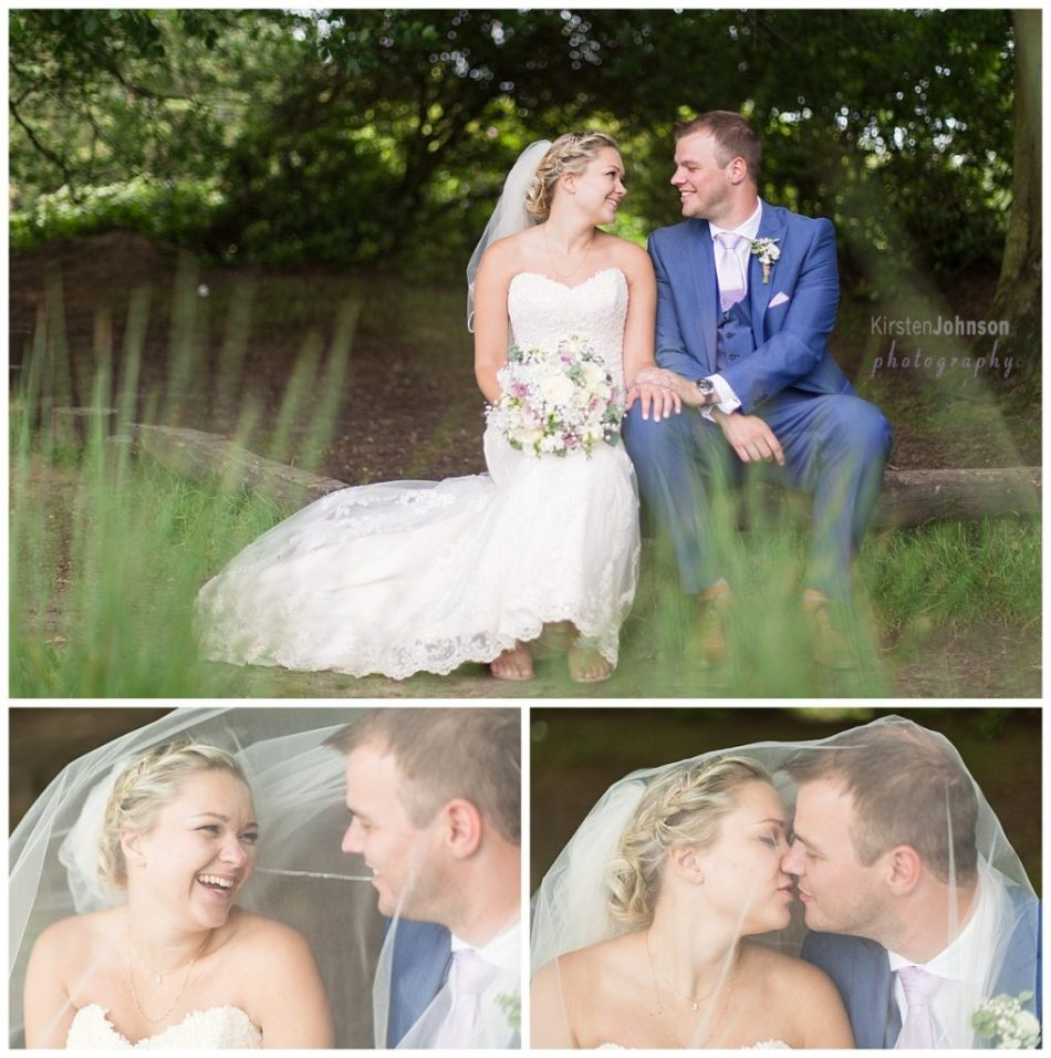 multi photo image of bride and groom sitting on log