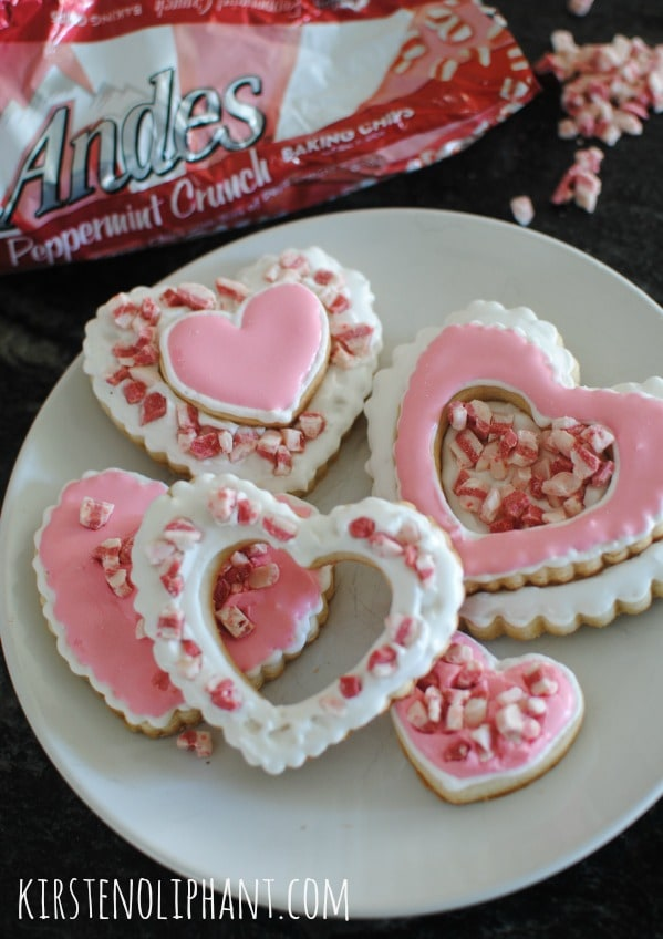 Heart Sugar Cookies for Valentines Day with peppermint baking chips.
