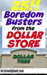 Try these 25 easy and affordable boredom busters from the dollar store! Don't sweat over expensive kids' activities with a lot of set-up. Simple, cheap, (mostly) reusable.