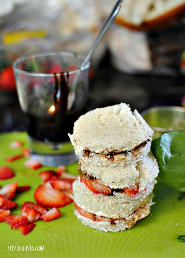 Strawberry-basil tea sandwiches with a balsamic glaze-- a perfect choice for your next brunch, baby shower, or tea party.