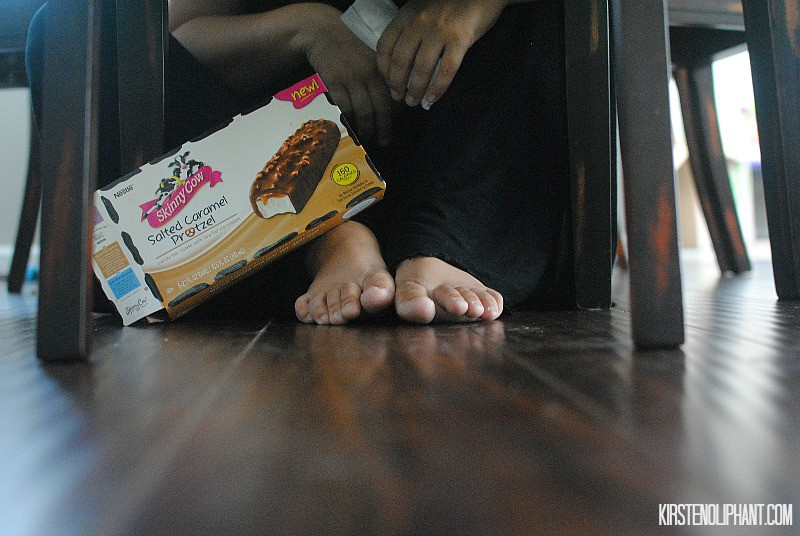 Under the table is the perfect hiding spot for a Mom Time Out with Skinny Cow. #FoodMadeSimple #shop #cibas