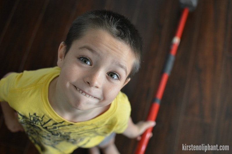 Teach your kids how to clean floors with the O-Cedar Pro Mist spray mop. #CleanfortheHolidays #ad