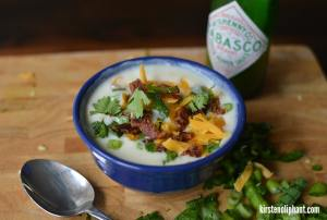 This potato soup has a unique kick, but still tastes like home! With the smoky spice from Tobasco Green Jalapeno Sauce & the snap of bacon.