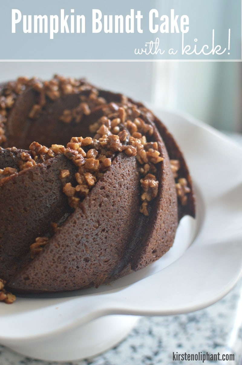 Try this pumpkin bundt with a shot of cayenne and the rich depth of molasses, topped with spiced pecans. A total treat for your taste buds!
