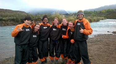 The river rafting group looking good in our suits