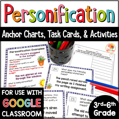 Personification Task Cards and Activities COVER