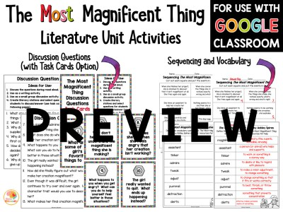 The Most Magnificent Things Activities PREVIEW