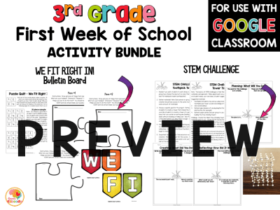 First Week of School Activities for 3rd Grade with Digital Option Back to School PREVIEW