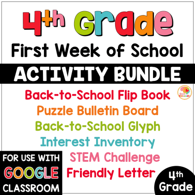First Week of School Activities for 4th Grade with Digital Option Back to School COVER
