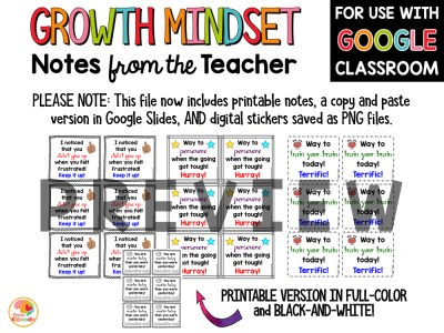 Growth Mindset Notes from the Teacher Digital and Printable File PREVIEW