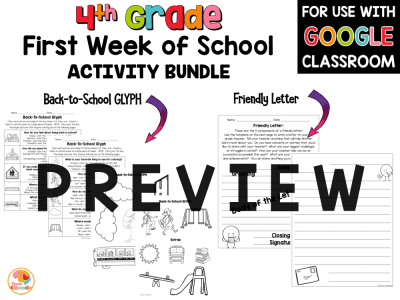First Week of School Activities for 4th Grade with Digital Option Back to School PREVIEW