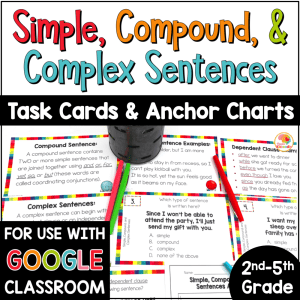 Sentence Structures: Simple Compound and Complex Sentences Task Cards Activities COVER