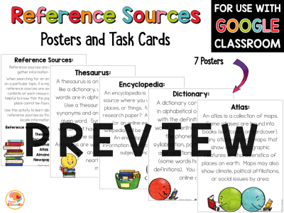 Reference Materials Posters and Task Cards with Digital Option Google PREVIEW