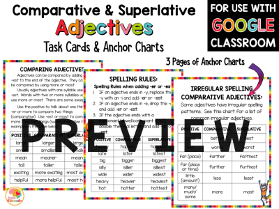 Comparative and Superlative Adjectives Task Cards and Anchor Charts PREVIEW