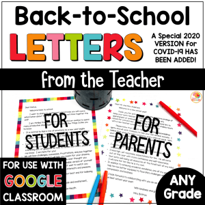 Welcome back to school letters from the teacher COVER