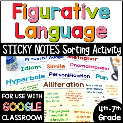 Figurative Language Sorting on Sticky Notes Activity COVER