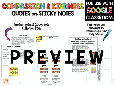 Compassion and Kindness Quotes on Sticky Notes Activities PREVIEW