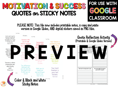 Motivation and Success Quotes on Sticky Notes PREVIEW