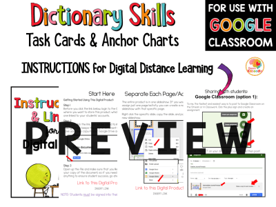 Dictionary Skills Activities and Task Cards with Digital Option in Google PREVIEW