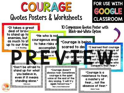 Courage Quotes Posters and Activities PREVIEW