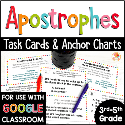 Apostrophes Task Cards and Anchor Charts Activities COVER