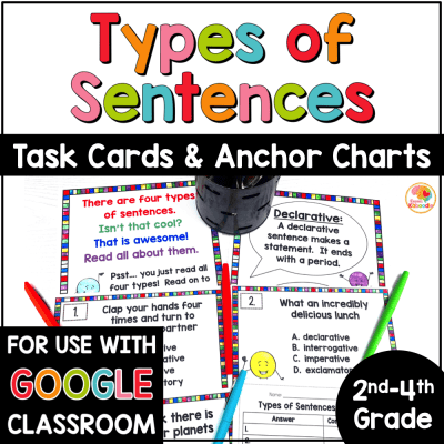 Four Types of Sentences Task Cards and Anchor Charts COVER