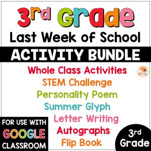 Last Week of School Activities for 3rd Grade COVER