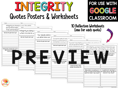 Integrity Quotes Posters and Activities PREVIEW