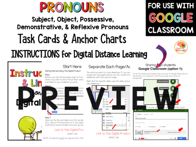 Pronouns anchor charts and task cards for subject pronouns, object pronouns, possessive pronouns, reflexive pronouns, and demonstrative pronouns PREVIEW