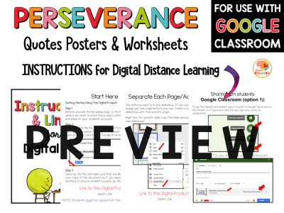 Perseverance Quotes Posters and Activities PREVIEW