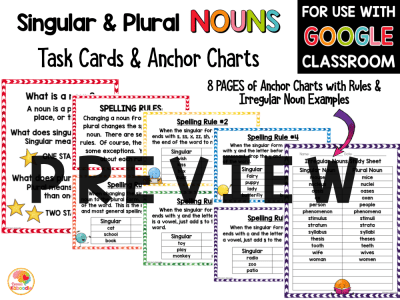 Singular and Plural Nouns Task Cards and Anchor Charts PREVIEW