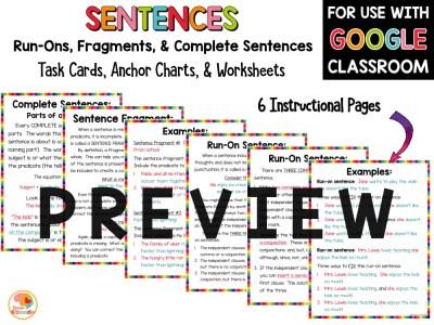Sentence Fragments, Sentences, and Run On Sentences Activities PREVIEW