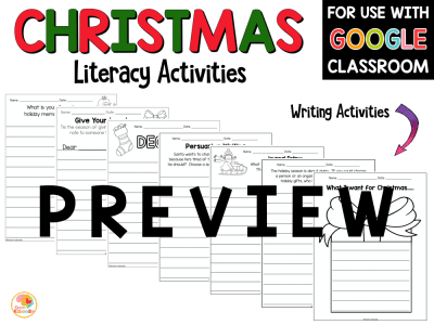 Christmas Literacy Activities Worksheets PREVIEW