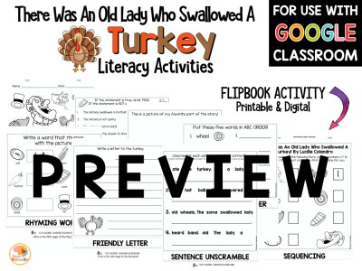 There Was an Old Lady Who Swallowed a Turkey Activities PREVIEW